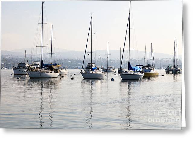 Newport Beach Bay Harbor California Greeting Card by Paul Velgos