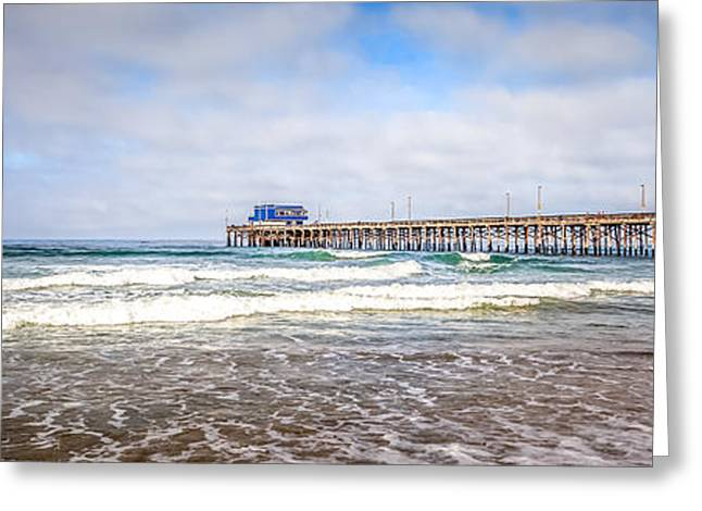 Pacific Ocean Prints Greeting Cards - Newport Beach California Pier Panorama Photo Greeting Card by Paul Velgos