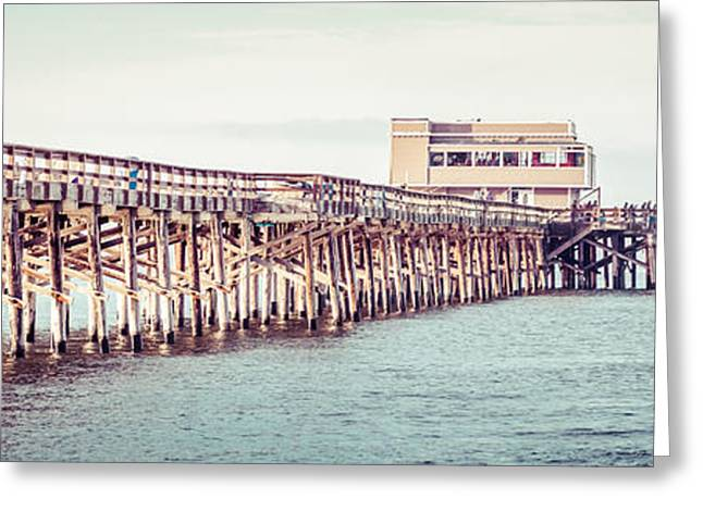 California Beach Art Greeting Cards - Newport Beach California Pier Vintage Panorama Picture Greeting Card by Paul Velgos