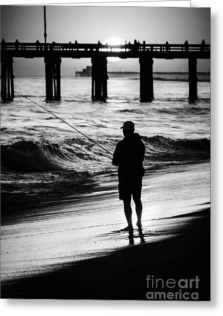 Southern California Sunset Beach Greeting Cards - Newport Beach California  Sunset Fishing Picture Greeting Card by Paul Velgos