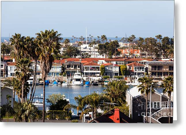 Opulence Greeting Cards - Newport Beach California Waterfront Luxury Homes  Greeting Card by Paul Velgos