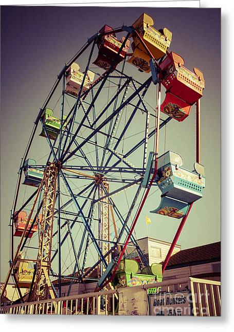 Newport Greeting Cards - Newport Beach Ferris Wheel in Balboa Fun Zone Photo Greeting Card by Paul Velgos