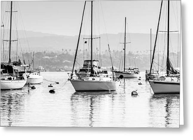 Sailboat Images Greeting Cards - Newport Beach Harbor Boats Panorama Photo Greeting Card by Paul Velgos