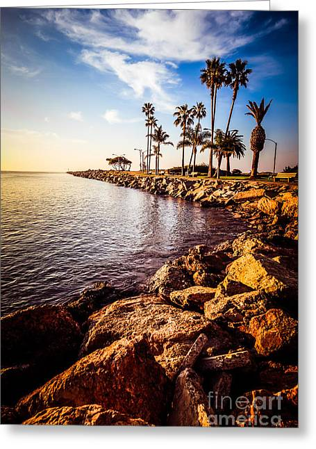 Balboa Peninsula Greeting Cards - Newport Beach Jetty Picture at Jetty View Park Greeting Card by Paul Velgos