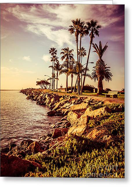 Newport Beach Jetty Vintage Filter Picture Greeting Card by Paul Velgos