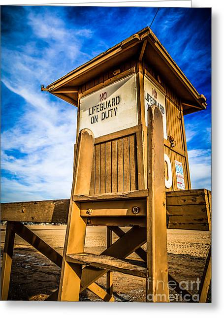 Shack Greeting Cards - Newport Beach Lifeguard Tower 10 Photo Greeting Card by Paul Velgos