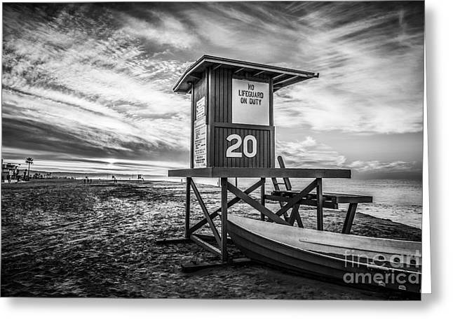 Black And White Hdr Greeting Cards - Newport Beach Lifeguard Tower 20 Black and White Photo Greeting Card by Paul Velgos