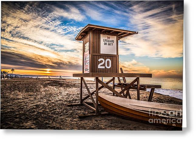 Shack Greeting Cards - Newport Beach Lifeguard Tower 20 HDR Photo Greeting Card by Paul Velgos