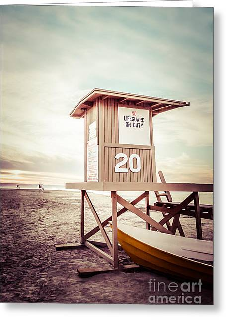 Shack Greeting Cards - Newport Beach Lifeguard Tower 20 Vintage Picture Greeting Card by Paul Velgos