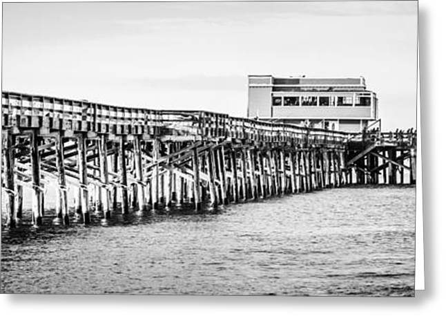 California Ocean Photography Greeting Cards - Newport Beach Newport Pier Panorama Picture Greeting Card by Paul Velgos