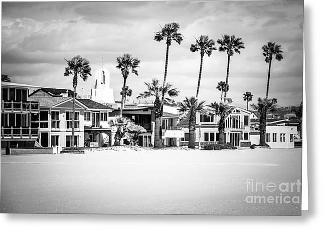 Peninsula Greeting Cards - Newport Beach Oceanfront Homes Black and White Picture Greeting Card by Paul Velgos