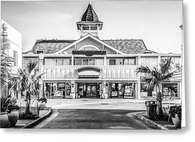 Historic Buildings Images Greeting Cards - Newport Beach Panorama of Balboa Main Street Greeting Card by Paul Velgos