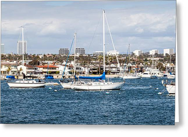 Sailboat Photos Greeting Cards - Newport Beach Panorama Greeting Card by Paul Velgos