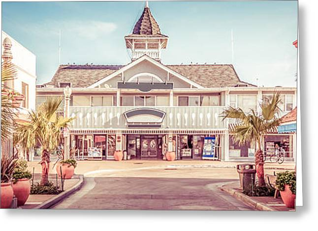 Historic Buildings Images Greeting Cards - Newport Beach Panorama Photo of Balboa Main Street Greeting Card by Paul Velgos
