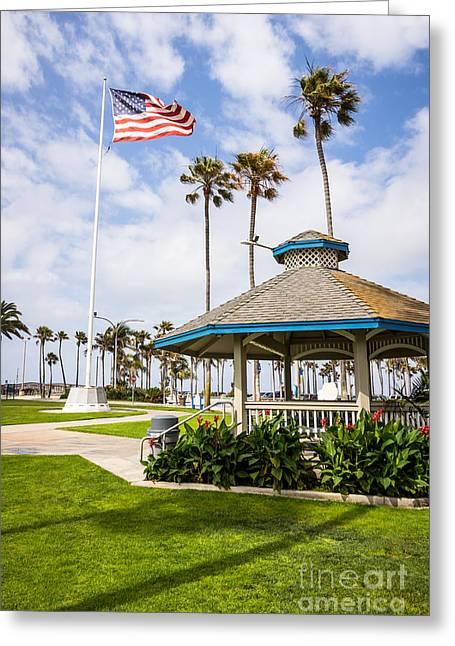 Gazebo Greeting Cards - Newport Beach Peninsula Park Gazebo in Orange County Greeting Card by Paul Velgos