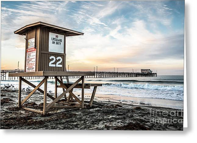 Newport Greeting Cards - Newport Beach Pier and Lifeguard Tower 22 Photo Greeting Card by Paul Velgos
