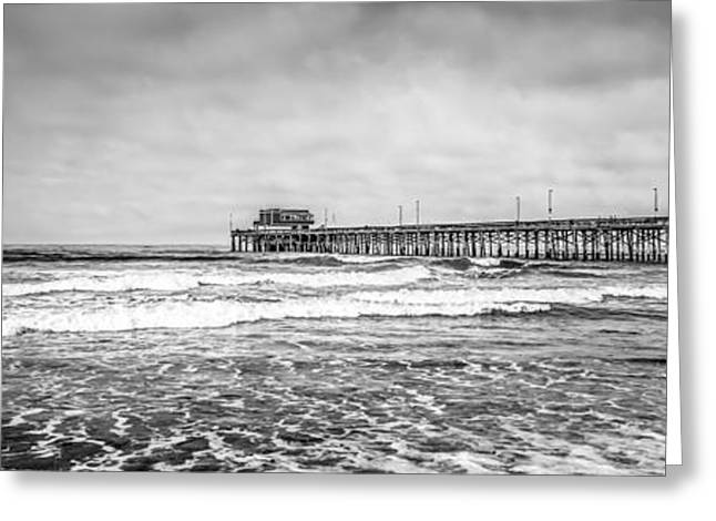 Pacific Ocean Prints Greeting Cards - Newport Beach Pier California Panoramic Photo Greeting Card by Paul Velgos