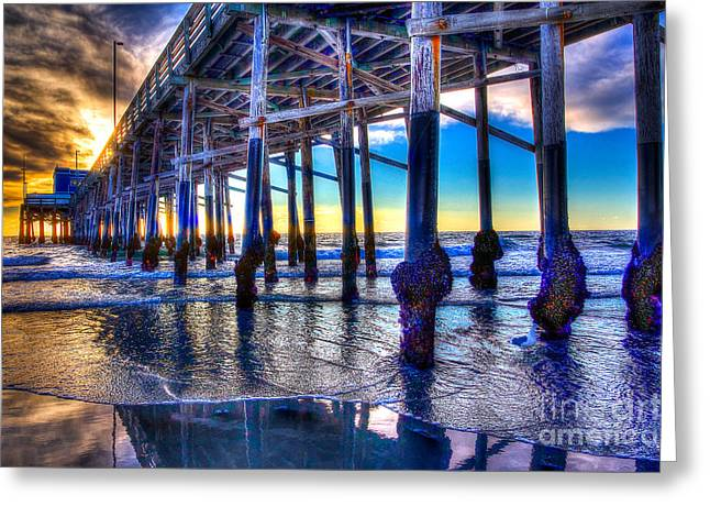 Newport Beach Pier - Low Tide Greeting Card by Jim Carrell