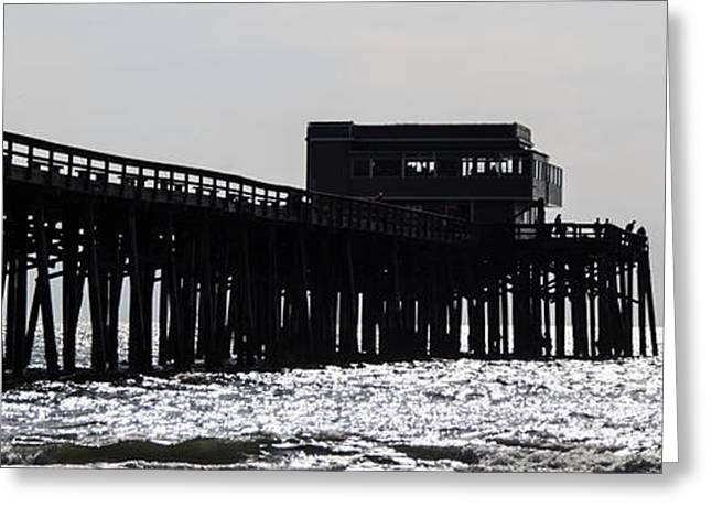 California Ocean Photography Greeting Cards - Newport Beach Pier Panorama Black and White Photo Greeting Card by Paul Velgos