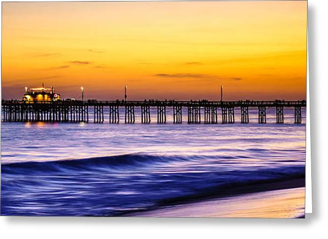 Pacific Ocean Prints Greeting Cards - Newport Beach Pier Panorama Sunset Photo Greeting Card by Paul Velgos