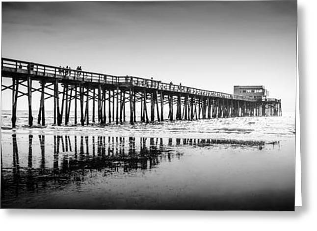 California Ocean Photography Greeting Cards - Newport Beach Pier Panoramic Photo in Black and White Greeting Card by Paul Velgos