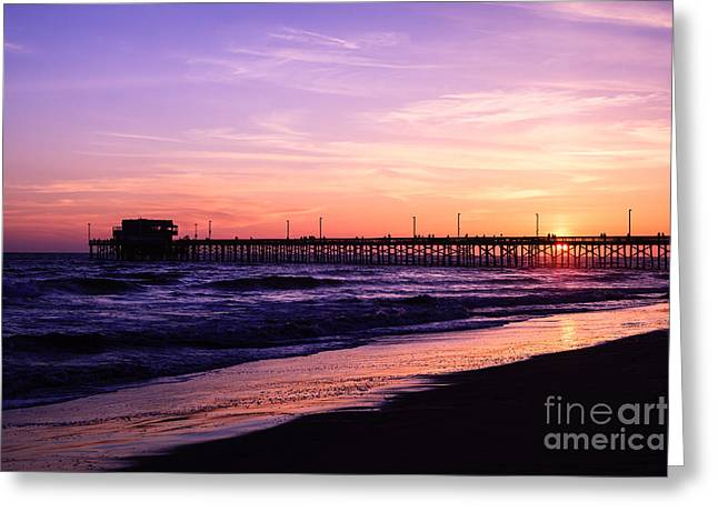 Newport Greeting Cards - Newport Beach Pier Sunset in Orange County California Greeting Card by Paul Velgos