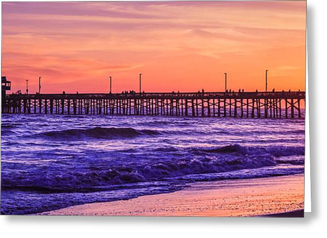 Southern California Sunset Beach Greeting Cards - Newport Beach Pier Sunset Panorama Photo Greeting Card by Paul Velgos