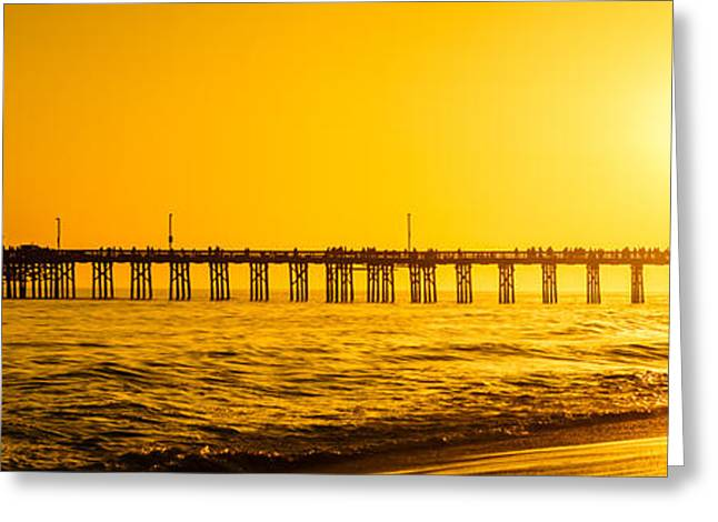 """sunset Photography"" Greeting Cards - Newport Beach Pier Sunset Panoramic Photo Greeting Card by Paul Velgos"