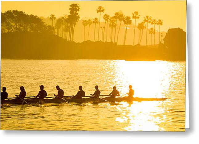 California Beach Image Greeting Cards - Newport Beach Rowing Crew Panorama Photo Greeting Card by Paul Velgos