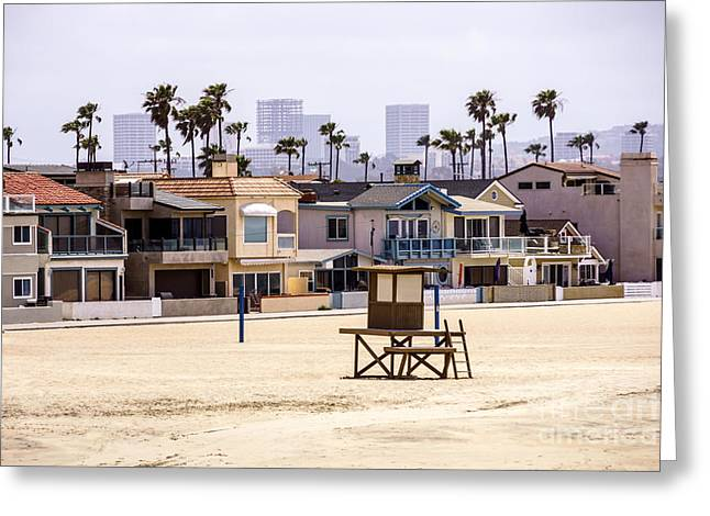 Office Real Estate Greeting Cards - Newport Beach Skyline and Waterfront Luxury Homes Greeting Card by Paul Velgos