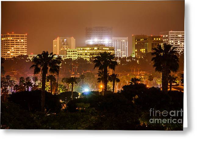 Western Usa Greeting Cards - Newport Beach Skyline at Night Greeting Card by Paul Velgos