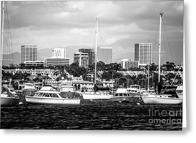 Sailboat Photos Greeting Cards - Newport Beach Skyline Black and White Picture Greeting Card by Paul Velgos