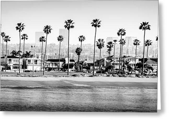 Beachfront Greeting Cards - Newport Beach Skyline Panorama Photo in Black and White Greeting Card by Paul Velgos