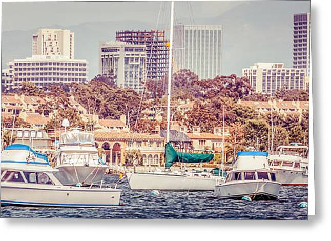 Sailboat Photos Greeting Cards - Newport Beach Skyline Panorama Vintage Tone Greeting Card by Paul Velgos