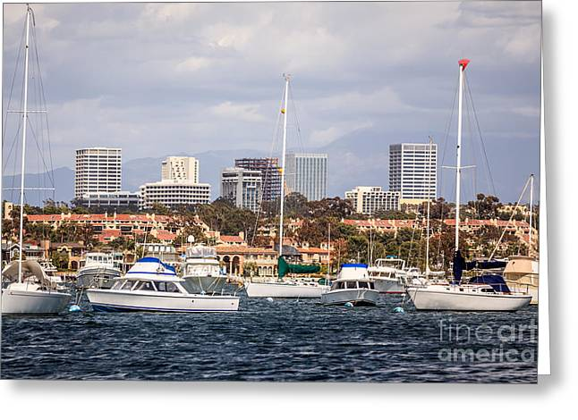 Wealthy Greeting Cards - Newport Beach Skyline  Greeting Card by Paul Velgos