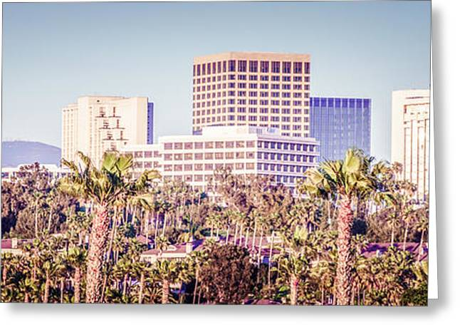 California Beach Art Greeting Cards - Newport Beach Skyline Retro Panorama Photo Greeting Card by Paul Velgos