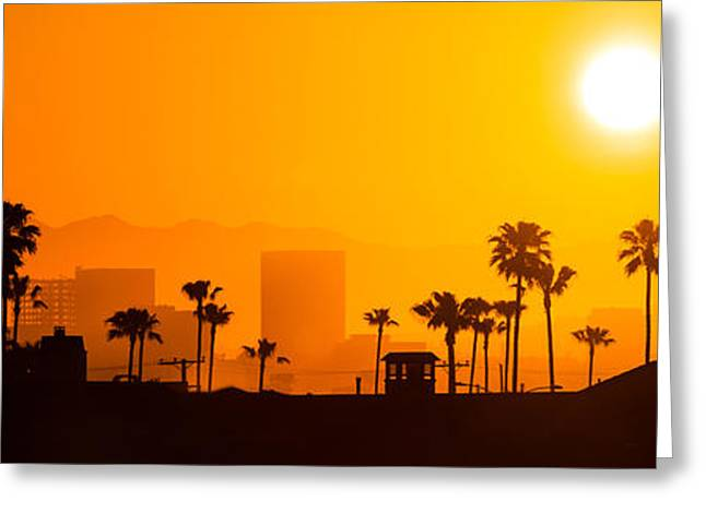 Southern California Sunset Beach Greeting Cards - Newport Beach Skyline Sunrise Panorama Photo Greeting Card by Paul Velgos