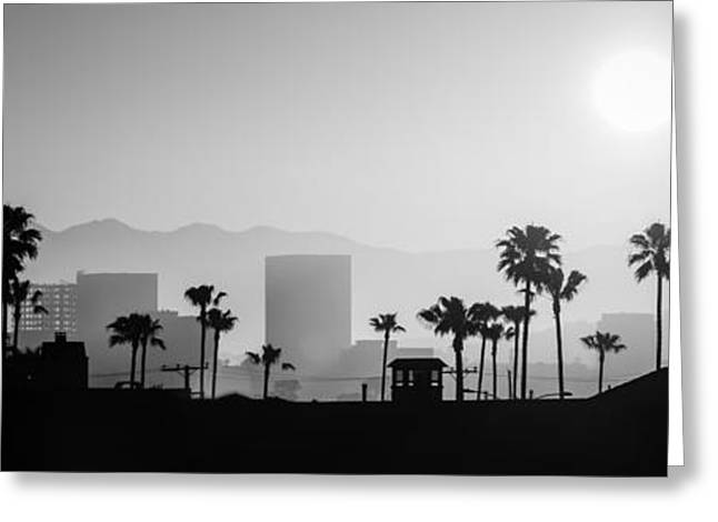 Southern California Sunset Beach Greeting Cards - Newport Beach Skyline Sunrise Panoramic Picture Greeting Card by Paul Velgos