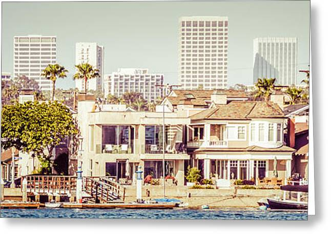 Tropical City Prints Greeting Cards - Newport Beach Skyline Vintage Panorama Greeting Card by Paul Velgos
