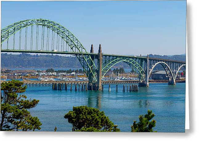 Bridge Tapestries - Textiles Greeting Cards - Newport Bridge Greeting Card by Dennis Bucklin