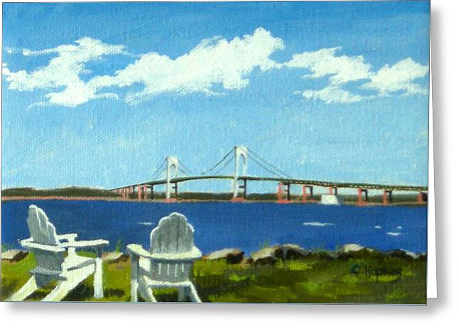 Yatch Greeting Cards - Newport Bridge Newport Rhode Island Greeting Card by Christine Hopkins