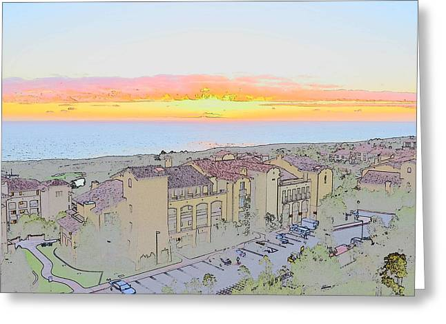 Pen And Ink Drawing Photographs Greeting Cards - Newport Coast Sunset Greeting Card by Penny Lisowski