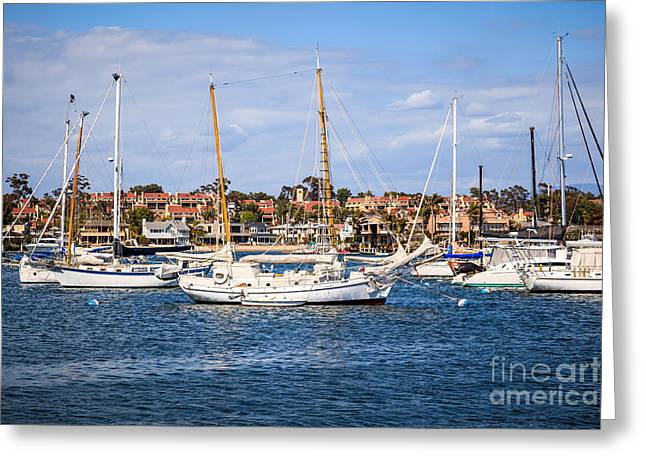 Newport Harbor Boats In Orange County California Greeting Card by Paul Velgos