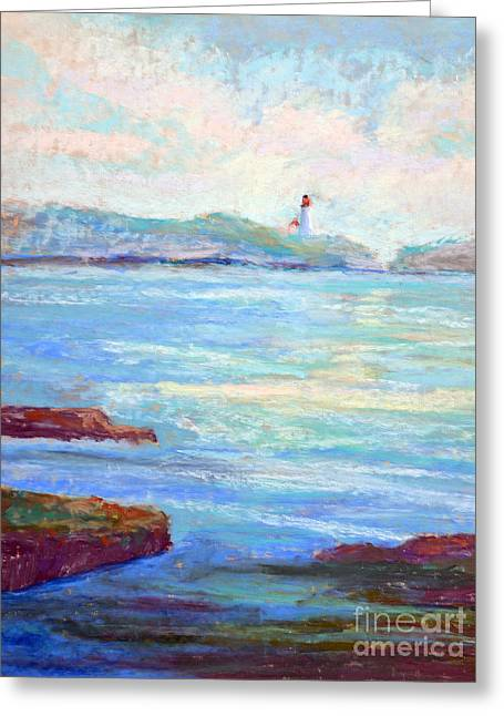 Ocean Sailing Pastels Greeting Cards - Newport Lighthouse Greeting Card by Arlene Baller
