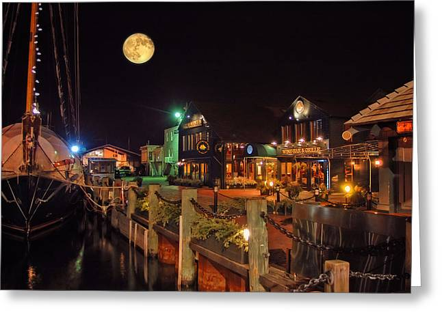 Boats In Harbor Greeting Cards - Newport Lights Greeting Card by Joann Vitali