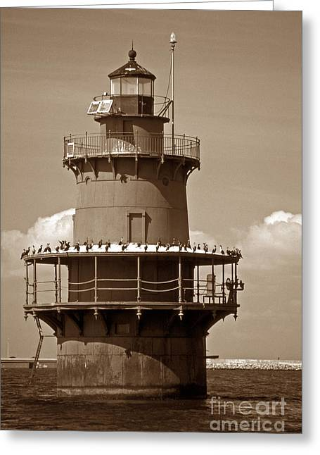 Middle Ground Greeting Cards - Newport News Middle Ground Light Greeting Card by Skip Willits