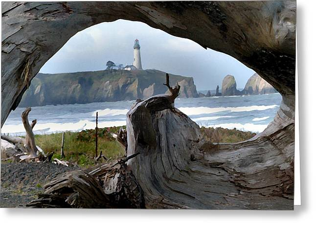 Growling Greeting Cards - Newport Oregon Lighthouse Greeting Card by Steve Archbold