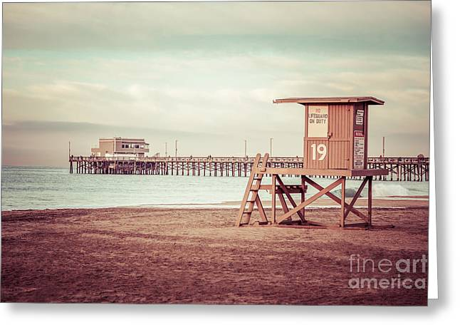 Shack Greeting Cards - Newport Pier and Lifeguard Tower 19 Vintage Picture Greeting Card by Paul Velgos