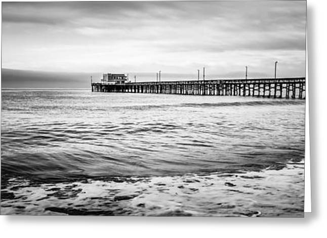Ocean Black And White Prints Greeting Cards - Newport Pier Panoramic Photo in Black and White Greeting Card by Paul Velgos