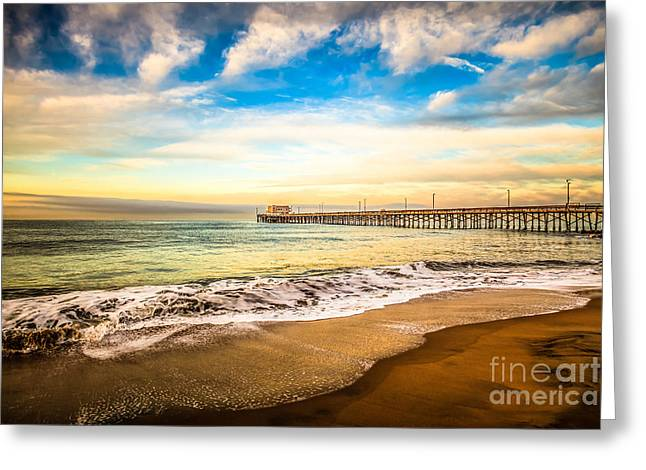 California Ocean Photography Greeting Cards - Newport Pier Photo in Newport Beach California Greeting Card by Paul Velgos